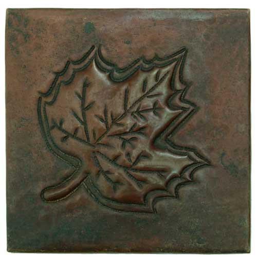 Maple leaf hammered copper tile