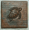 Hammered copper tile, sea turtle design