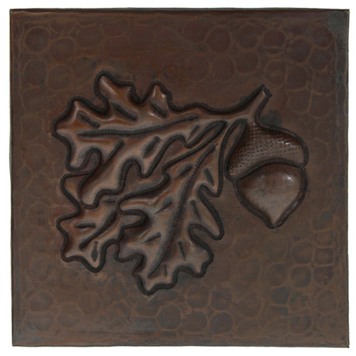 Acorn with leaves copper tile design