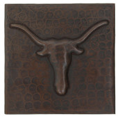 Longhorn design copper tile