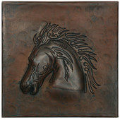 Stallion head design copper tile