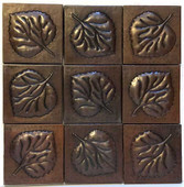Set of 9 Copper Tile (TL417) Large Leaf Design