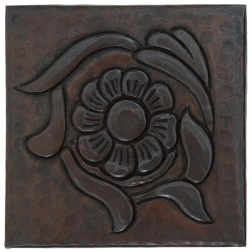 Floral design copper tile