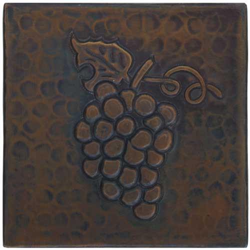 Grape design copper tile
