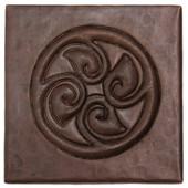 Circle of leaves design copper tile