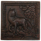 Hammered copper tile with fox design