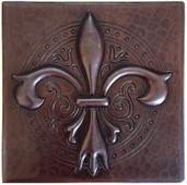 Ornate Fleur De Lis copper tile