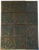 Set of 12 Copper Tile (TL998) Ferns Galore Design