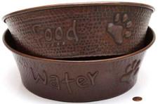 large copper pet bowls