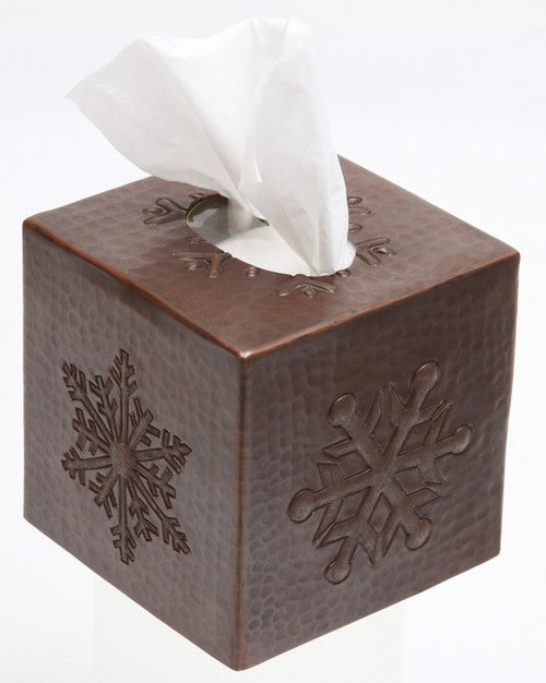 Snowflake design copper tissue box