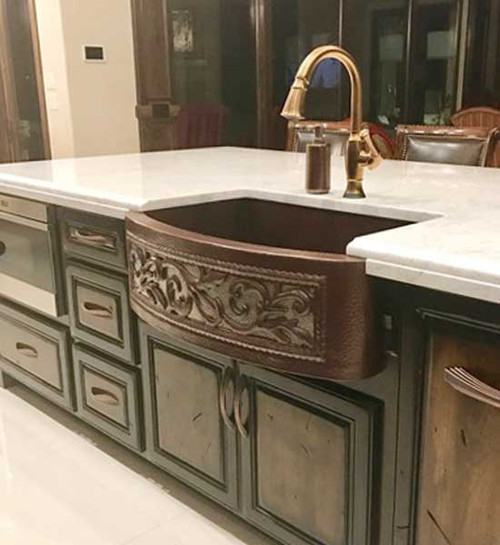 Farmhouse Sink Designer Front (FHA-SRL-NKL) Custom Apron Scroll Design  w/Nickel Inlay Copper Kitchen Sink