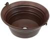 BKT17-Hammered Round Copper Bucket Sink