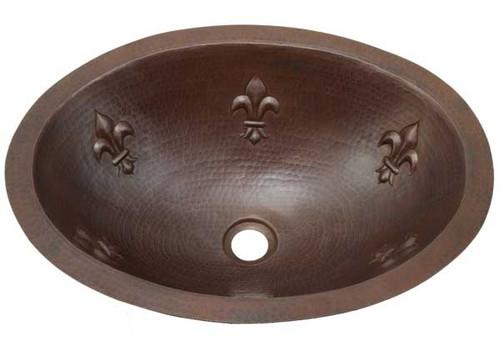 Fleur De Lis Design in an over copper sink