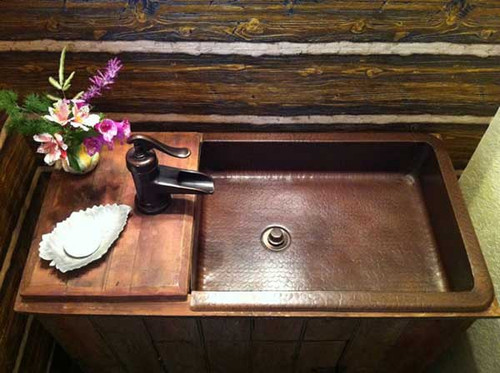 Custom copper sink in Dark Patina