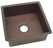 Smooth copper square bar sink.