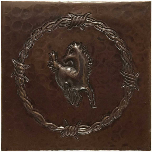 Horse Barbwire hammered copper tile TL223