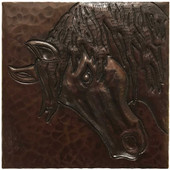 Horse Head hammered copper tile TL228