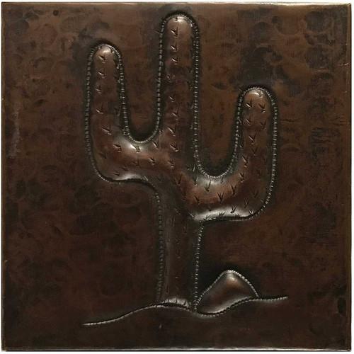 Triple Cactus hammered copper tile TL231