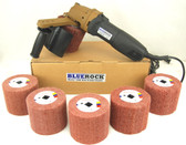 BLUEROCK 120D Large Rolling Wheel Polisher Burnisher & 5 Pc #80, 120, 180, 240 Grit PACKAGE DEAL