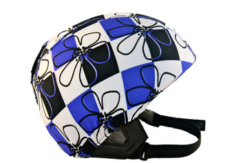 Blue / Black Check Floral Helmet Cover