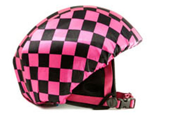 Pink/ Black Check Helmet Cover