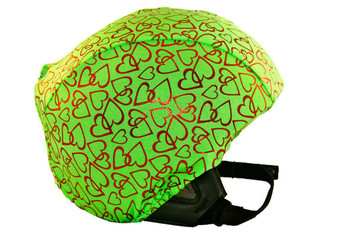 Lime Red Hearts Helmet Cover