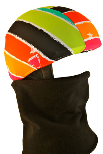 Multi Stripe Heart Helmet Cover with Gator