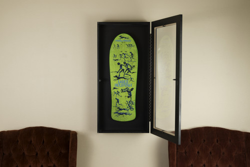 Fits new and vintage skateboard decks.  Approved by collectors and art galleries alike. Adds depth to the graphics on any deck.  Hangs like a picture frame. Picture hooks not included. We recommend using 2 hooks for ease of balancing.  Configured for vertical mounting. Horizontal OK.  Constructed with ultra-light MDF (multi density fiberboard), acrylic plexiglass and high end cabinet finishings. Each frame comes furnished with Sk8ology™ deck display hangers that can be moved up or down within the frame.  All Deck Monger products are proudly built in the USA.