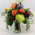 Country Garden Chic with lysianthis, hydrangea, agapantha, varieties of eucalyptus and roses in Rockville MD, Palace Florists