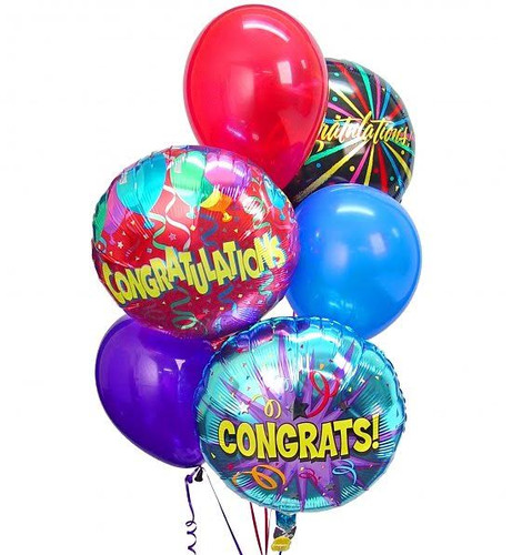 Congratulations Balloon Bouquet showcasing three congratulations balloons and three latex balloons gathered together with a festive balloon weight in Washington DC and Rockville MD, Palace Florists