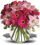 A Little Pink Me Up with pink roses, Asiatic lilies, hot pink gerberas, miniature carnations, pink carnations and more in a clear glass bubble bowl in Rockville MD and Washington DC, Palace  Florists.