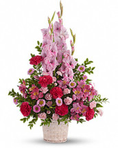 Heavenly Heights with pink gladioli, pink alstroemeria, hot pink carnations, pink miniature carnations, pink matsumoto asters and foliage in Rockville MD, Palace Florists
