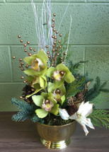 Centerpiece - Greens, Whites and Golds