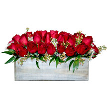 Box O'Love showcases two dozen red roses and foliage in a rustic wood box in Rockville MD, Palace Florists