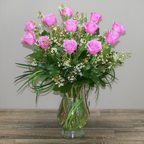 One Dozen Lavender Royal Roses in a clear glass vase in Washington DC and Rockville MD, Palace Florists