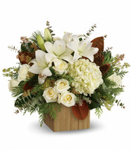 Snowy Woods showcases all white flowers like hydrangea, roses an lilies with beautiful foliage in Rockville MD, Palace Florists