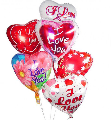 Six I Love You Mylar Balloons in Rockville MD, Palace Florists