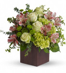 Tuscan morning showcases green roses, mini hydrangea, chrysanthemums, pink alstroemeria, eucalyptus and pitta negra in Rockville MD, Palace Florists