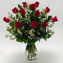 One Dozen Long Stemmed Royal Roses with accent flower in glass vase in Rockville MD, Palace Florists