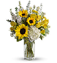 To See You Smile showcase hydrangeas and sunflowers in a clear vase in Rockville MD, Palace Florists