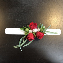 "Corsage - Red Rose and Succulent ""Slap"" Bracelet"