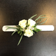 "White Rose and Succulent ""Slap"" Bracelet in Bethesda MD, Palace Florists"