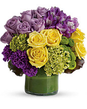 Simply Splendid showcases roses, hydrangea, alstroemeria and other flowers in bright purples and yellows in Rockville MD, Palace Florists