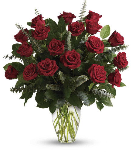 Eternal Love Bouquet showcases 18 red with eucalyptus in glass vase in Rockville MD, Palace Florists