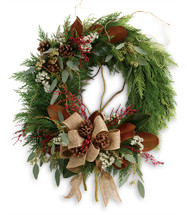 Rustic Holiday Wreath in Washington DC, Palace Florists