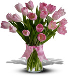 Precious Pink Tulips showcasing twenty pink tulips in a clear glass vase with a pink bow in Washington DC and Rockville MD, Palace Florists