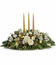 Royal Christmas Centerpiece showcases crème roses and spray roses, white alstroemeria, gold ornaments, pinecones, ribbon, Christmas greenery and 3 gold taper candles in Rockville MD, Palace Florists