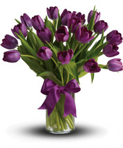 Passionate Purple Tulips showcasing twenty purple tulips in a clear vase with purple bow in Washington DC and Rockville MD, Palace Florists