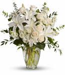 Dreams from the Heart Bouquet with white hydrangea, white spray roses, white stock, pale peach, creme roses or white roses, eucalyptus and foliage in a tall glass vase in Washington DC and Rockville MD, Palace Florists