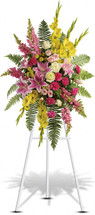 Rays of Light Funeral Spray with green roses, gladioli, button spray chrysanthemums, pink spray roses, pink carnations, light pink oriental lilies and snapdragons with beautiful greenery in Washington DC and Rockville MD, Palace Florists